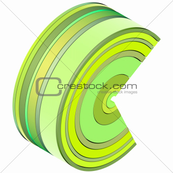 3d curved rectangular c shapes in green yellow on white