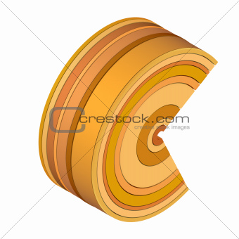 3d curved rectangular c shapes in orange brown on white