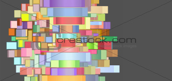 3d abstract rectangular shapes in multiple color on gray