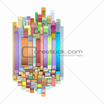 3d curved rectangular shapes in multiple color on white
