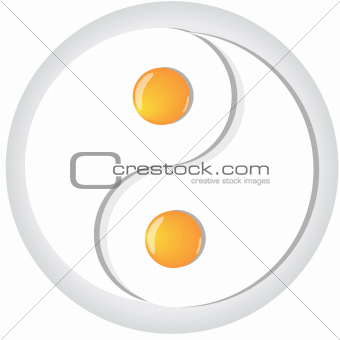 Yin-yang symbol made from fried eggs on plate