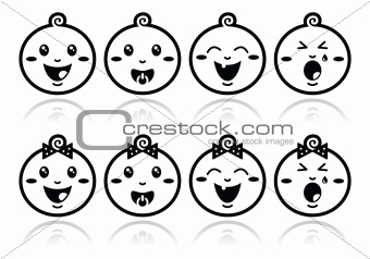 Baby boy, baby girl face - crying, with soother, smile black icons