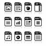 File type black icons with shadow set - zip, pdf, jpg, doc