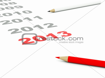 2013 sign with pencils isolated on white