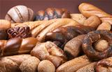 Dark background with assortment of fresh bakery