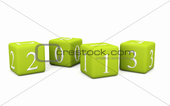 2013 New Year symbol on bricks isolated on white