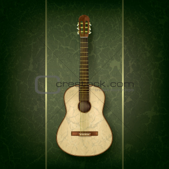 acoustic guitar on grunge green background