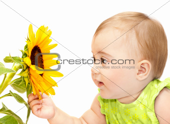 Baby girl exploring flower