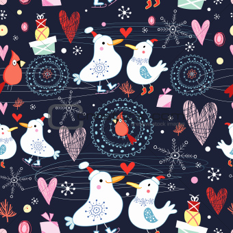 winter texture with birds