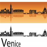 Venice skyline in orange background