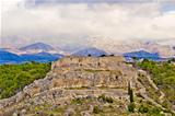 Novigrad Dalmatinski fortress and Velebit Mountain