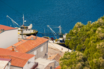 Fishing boats aerial view in Novigrad Dalmatinski