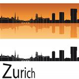 Zurich skyline in orange background
