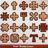 Set vector wooden crossed
