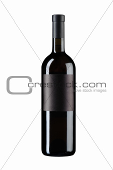 Black wine bottle on white
