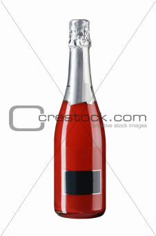 full wine bottle isolated on white