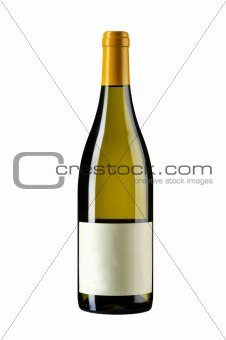 standing wine bottle on white