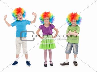Happy clowns in row