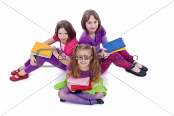 Group of young girls preparing for school
