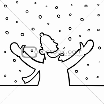 Man playing with snowflakes