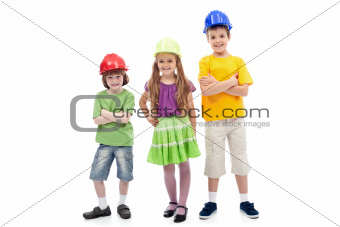 Kids with protective helmets posing