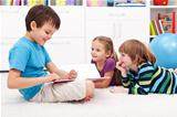 Kids reading funny story
