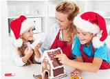 Making a gingerbread cookie house with the kids