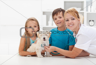 Kids taking their pet to the veterinary