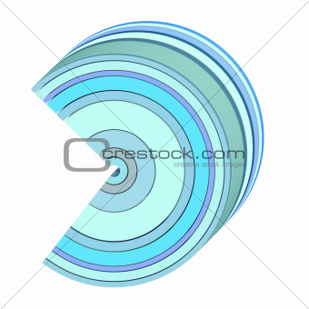 3d curved abstract shape in blue on white