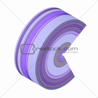 3d curved rectangular c shape icon in purple on white