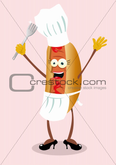 Funny female hot dog