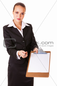 Business woman with a paper documen for writing / signing