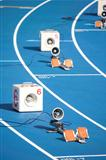 Start block of sprinters and loudspeaker