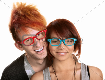 Couple in Red and Blue Glasses