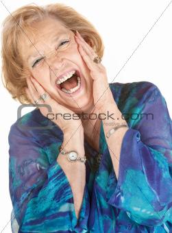 Blond Senior Woman Screaming