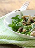 Fresh salad with arugula , grilled mushrooms