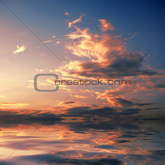 Sky background and water