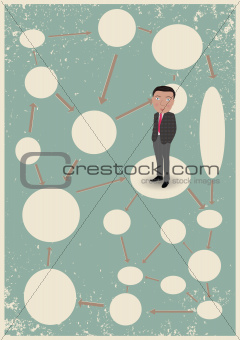 Blank diagram with clouds and businessman
