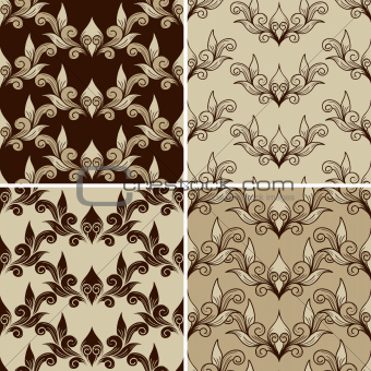 4 Vector Seamless Vintage Pattern