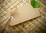 blank eco friendly tag, green leaf