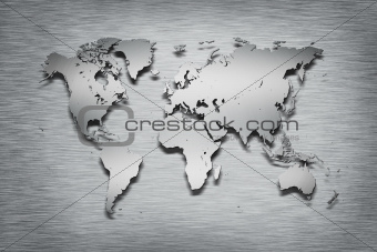Metal World Map on metal