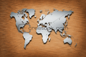 Metal World Map on wood