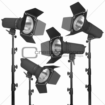 Set of photographic flash or spotlight