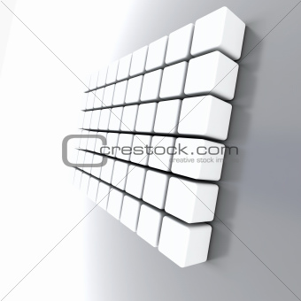 Abstract objects of the cubic form with a light grey surface