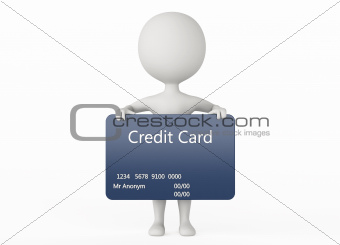 3d humanoid character hold a credit card