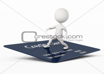 3d humanoid character surfing on a credit card