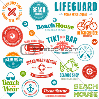 Beach badges and emblems