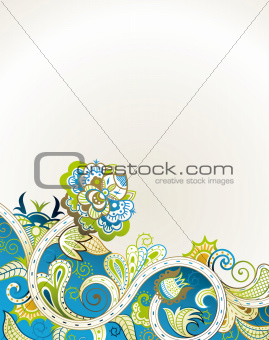 Abstract Turquoise Blue Floral