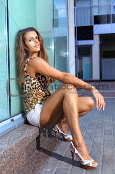 Beautiful woman on parapet