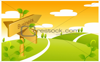 Business Sign boards on Green landscape